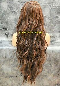 Lace Front Full Wig Long Beach Wavy layered Brown Auburn Mix Heat Ok Hair Piece