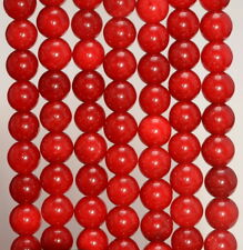 BD992 20 Jade Beads 8mm Cherry Red Gemstone Beads 8mm Set of 20
