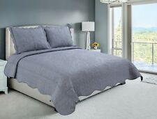 Embroidered 3 Pieces Reversible Bedding Quilt Set, Gray Color, King Size