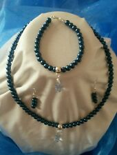 Handmade glass pearl bead Navy blue necklace, bracelet and earring set gift idea