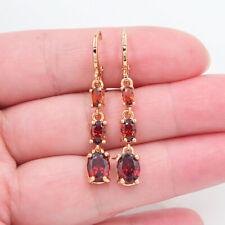 18K Yellow Gold Filled Women Red Topaz Teardrop Dangle Earrings Jewelry