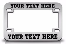 CUSTOM PERSONALIZED (METAL) Chrome MOTORCYCLE License Plate Frame Black FONT