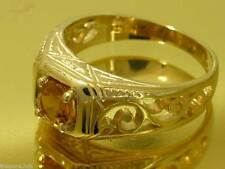 R140- Genuine 9ct Solid Yellow Gold NATURAL Citrine Ring Heavy Solitaire size Q
