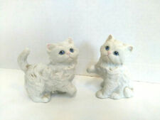 Vintage 80's Pair Porcelain White Cat Kitten Figurines Home Interiors Homco 1413