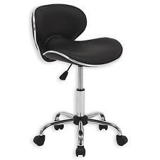 Chaise de bureau sur roulettes hauteur réglable simili cuir noir