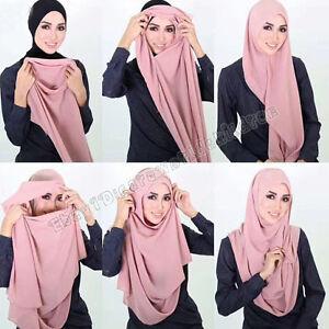 Muslim New Hijab Cap Scarf Headwrap Islamic Women Soft Chiffon Turban Shawls
