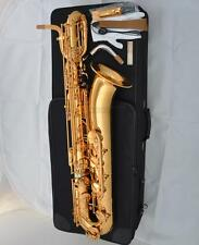 Professional Golden Lacquer Baritone saxophone Eb Bari Sax hand engraved bell
