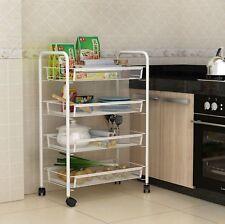 White 4 Tier Mesh Rolling Cart Trolley Storage Rack Wheel for Kitchen Bathroom