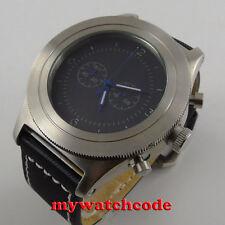 heavy 52mm parnis black sterile dial big face Full chronograph quartz mens watch