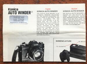 Konica Auto Winder  - Anleitung