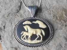 HORSE AND FOAL CAMEO NECKLACE - HORSE LOVERS GIFT - HORSE WITH BABY HORSE - BLK