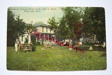 RAVENSWOOD VILLA, Summer Home of Dr. Walsh, WHITE LAKE, MI postcard, circa 1914