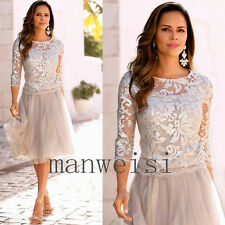 2017 Newest Short Mother Of The Bride Dresses Lace Tulle Knee-Length Custom Gown