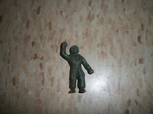 "Vintage Unknown Pilot figure 2"" tall dark green w helmet plastic"