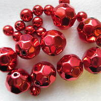 25 Chunky Metallic Red Round Beads 24 & 12mm Christmas Jewellery Making
