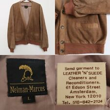 Vintage Neiman Marcus Jacket Suede Leather Button Cardigan Rare Size Large Brown