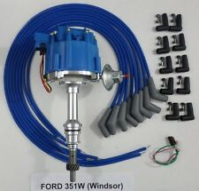 FORD 351W Windsor BLUE HEI Distributor & Universal Spark Plug wires Made in USA!