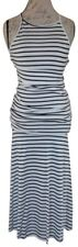 White Black Striped Stretchy Strappy Tied Gathered Fishtail Maxi Dress SMALL