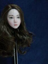 1/6 Scale Pale Skin Head Carving Little Beauty Girl Head Model Toy