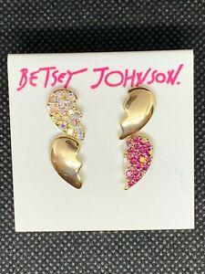 BETSEY JOHNSON Pink & White Pave' Heartbreak Stud Gold-Tone Earring Set NWT $32