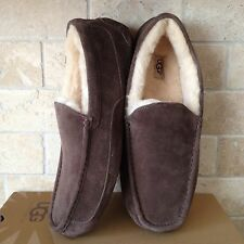 UGG ASCOT ESPRESSO SUEDE SHEEPSKIN SLIPPERS MOCCASIN MENS US 11 3E WIDE