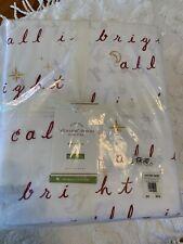 Pottery Barn 100% Organic Cotton All Is Calm Holiday Sheet Set Full Christmas