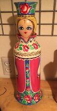 Russian wooden wine bottle holder
