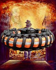 Firefighter Bunker Turnout Gear Paracord 550 Survival Bracelet - Blk with Orange