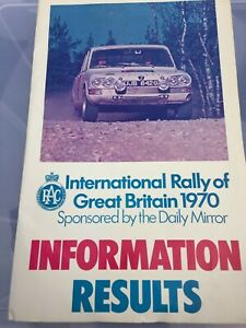 1970 INTERNATIONAL RALLY OF GREAT BRITAIN INFORMATION RESULTS BOOK EX JIM PORTER