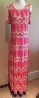 NWT Women's Pink Short Sleeve Cold Shoulder Design History Maxi Dress Small