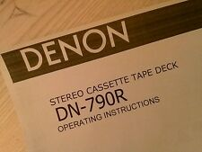 Denon DN-790R Stereo Cassette Tape Deck Owners Manual