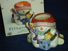 Fitz and Floyd Frosty Folks Filed Snowman Candle Cup (unused candle) w/Box