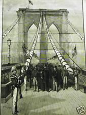 BROOKLYN BRIDGE PRESIDENT ARTHUR 1883 Antique Art Print Matted