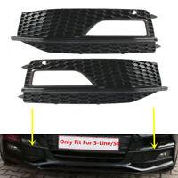 Fit For AUDI S4 A4-SLine B8.5 13 14 15 Front Lower Fog Lamp Grills L&R Black-Bar