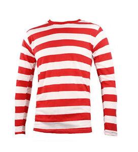 Long Sleeve Red & White Striped Nerd Fancy Dress T-shirt Top World Book Geek Men