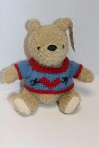 NWT! GUND Disney Classic Seated Plush WINNIE THE POOH Bear, Blue Sweater w/Heart