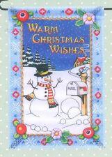 Garden Flag Mary Engelbreit Christmas Winter Snowman Small House Outdoor New