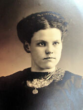 """Antique Photograph Young Woman in Black Dress Gothic Goth Look 3 1/4"""" by 6"""""""