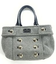 KATE SPADE WOOL GRAY PATENT LEATHER SATCHEL HANDBAG Graphic Interior Lining