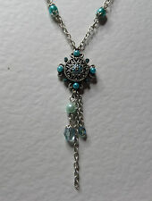 """SMALL ENAMEL TURQUOISE PEARLY NECKLACE PENDANT SILVER PLATED TASSEL 16"""" 18"""""""