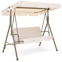 BCP 2-Person Outdoor Canopy Swing Glider Furniture w/ Cushions, Steel Frame