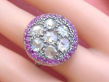 ANTIQUE VICTORIAN 5ctw ROSE DIAMOND 14K RUBY HALO BIG ROUND COCKTAIL RING c1880
