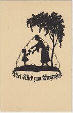 SILHOUETTE Little GIRL Mother Birthday Flowers FANTASY Vintage German PC c1920s