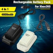 For XBox 360 Controller 2x 4800mAh Rechargeable Battery USB Charger Cable Pack @