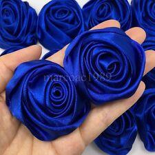 "Lot 12pc Blue 2"" Satin Ribbon Rose Flowers Craft DIY Wedding Bridal Bouquet 50mm"