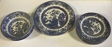 """Vintage English Ironstone England """"D"""" stamp Blue Willow dishes - lot of 13 pcs"""