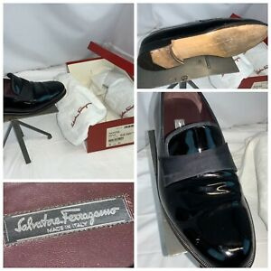 "Ferragamo ""Notte"" 8.5 D Men Black Patent Calf Leather Italy Bags YGI C0S-5BL"