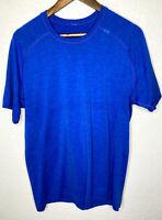 Lululemon Mens Metal Tech Vent Short Sleeve Shirt Size Medium Blue Running EUC!