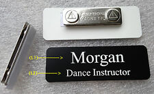 """Custom Name Tag 3""""x1"""" Black (white letters) w Round Corners & magnet attachment"""