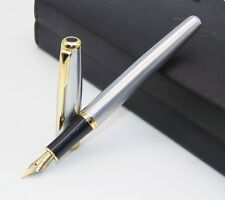 Pen Steel Fountain Stainless Trim Gold Silver Size Classic Parker Business Class